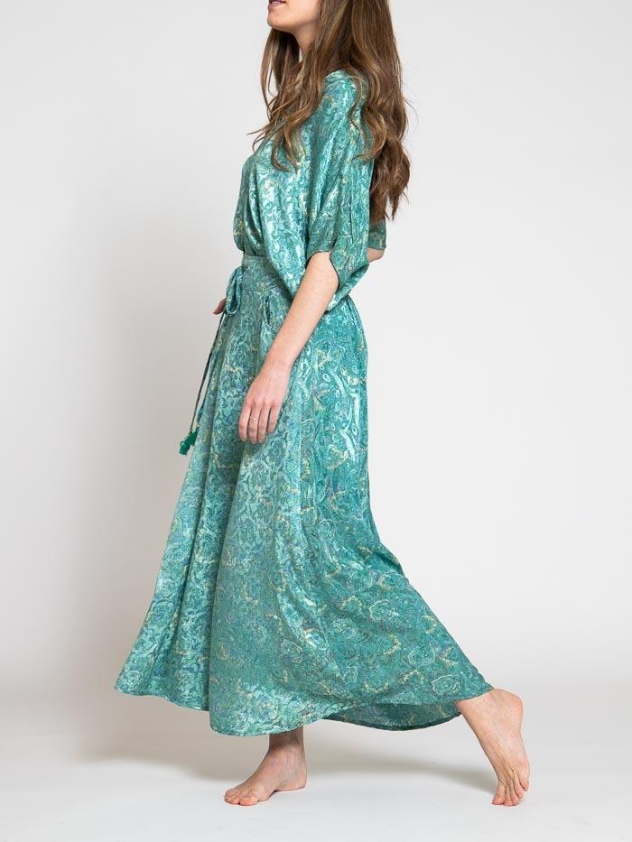 Flowy printed skirt Turquoises