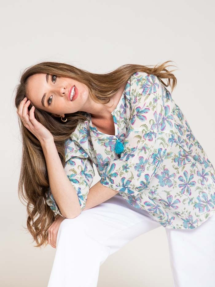 Printed cotton blouse details Turquoise