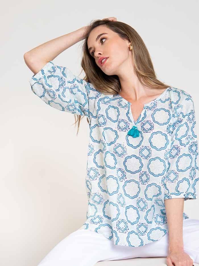Blusa algodón estampada detalle mujer Azul