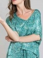 Flowy printed blouse Turquoise