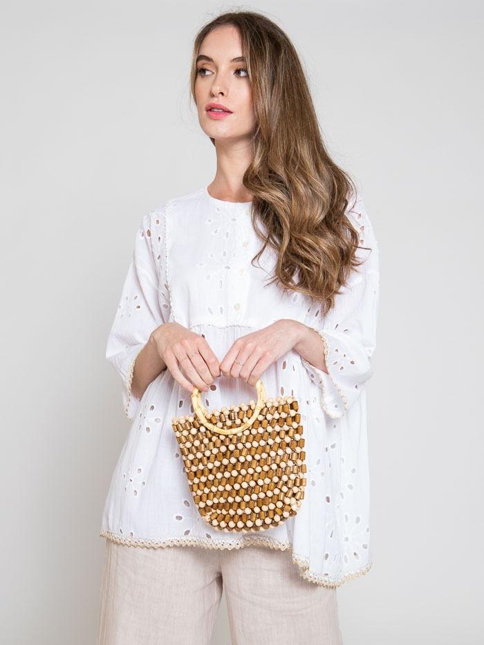 Bolso asa de bambu mujer Camel