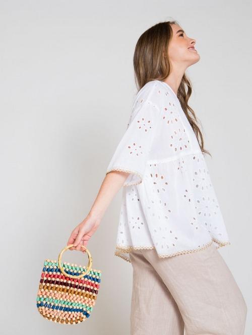 Bamboo handle bag Multicolor