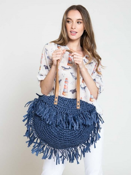 100% recycled bag Blue