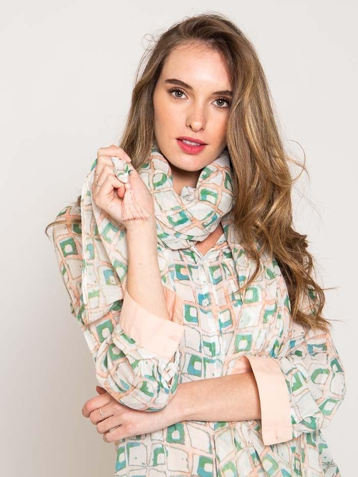 Fular estampado algodón mujer Rosa