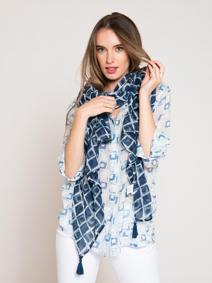 Cotton printed scarf Blue Navy