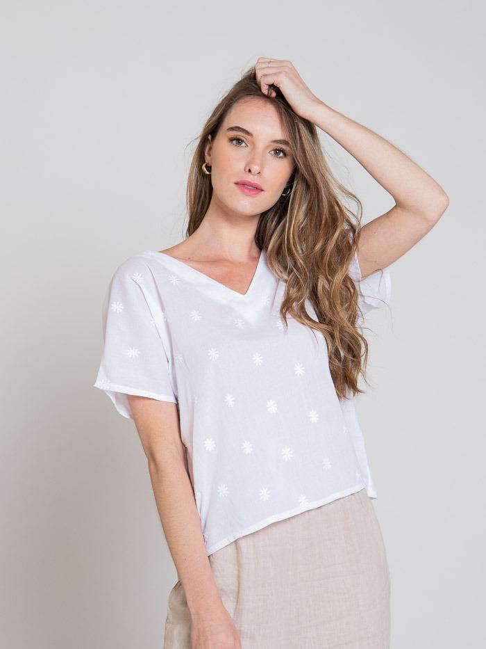 Blusa estampado floral y bordada mujer Blanco