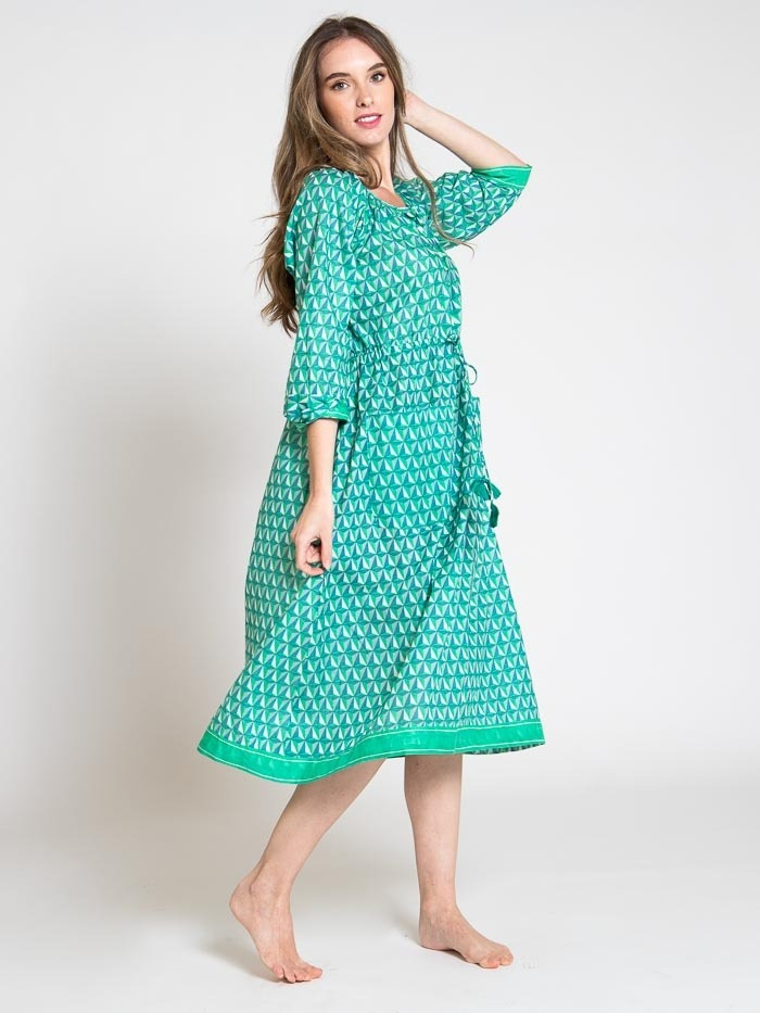 Vestido midi estampado algodón mujer Verde