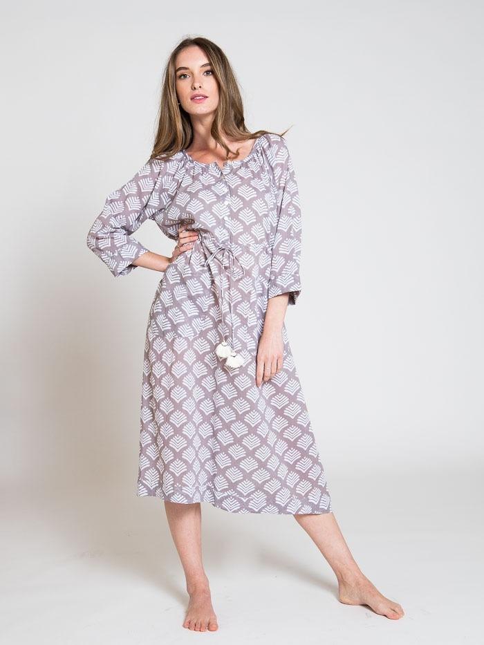 Vestido midi estampado algodón mujer Gris