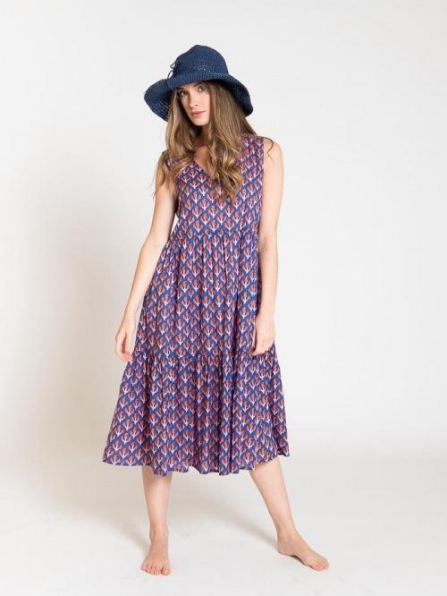 Vestido estampado escote en pico mujer Azul Marino