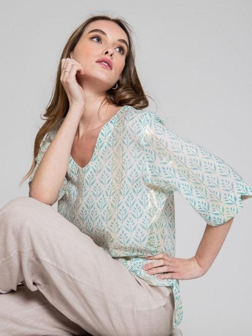 Blusa estampada detalle brillo mujer Aqua