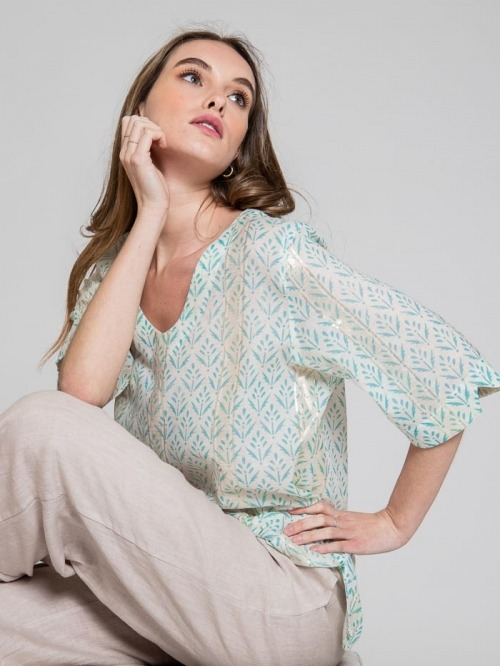 Printed blouse with glitter detail Aqua