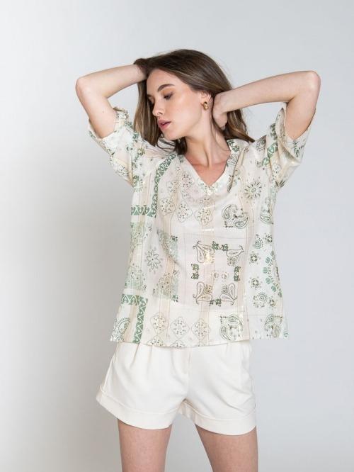 Woman patchwork print blouse Khaki