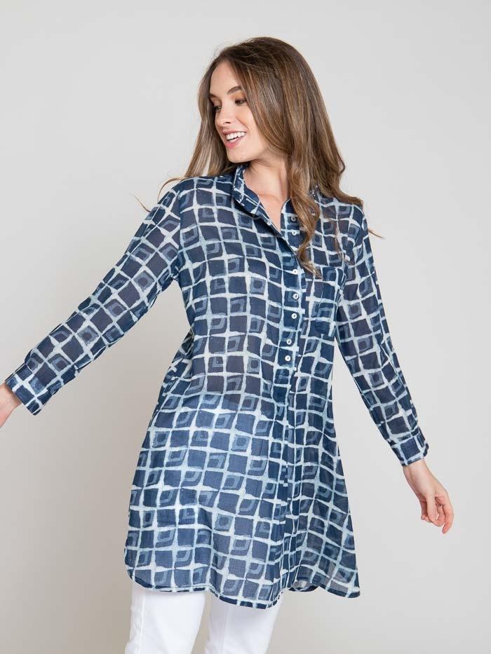 Women printed shirt dress Blue Navy