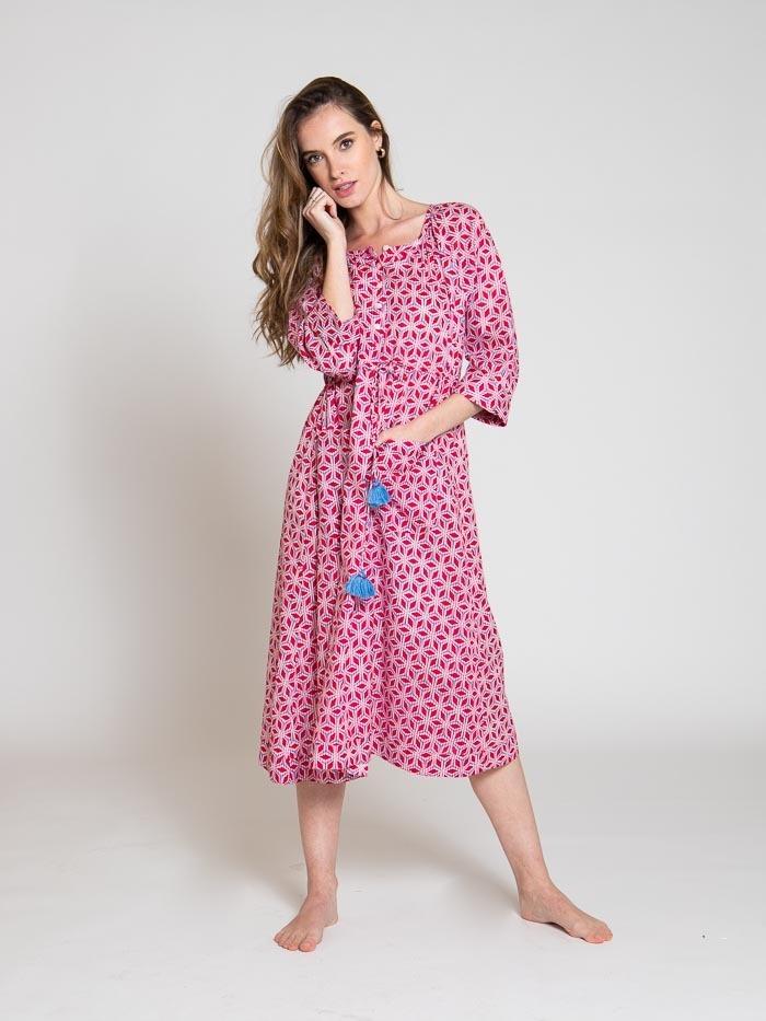 Cotton printed midi dress Red