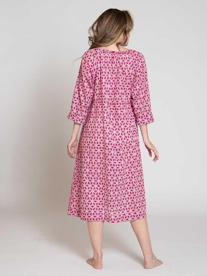 Vestido midi estampado algodón mujer Rojo