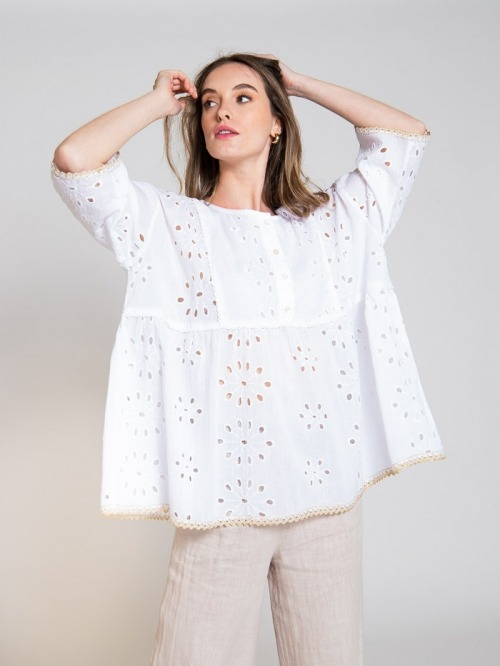 Blusa oversize algodón bordada mujer Blanco