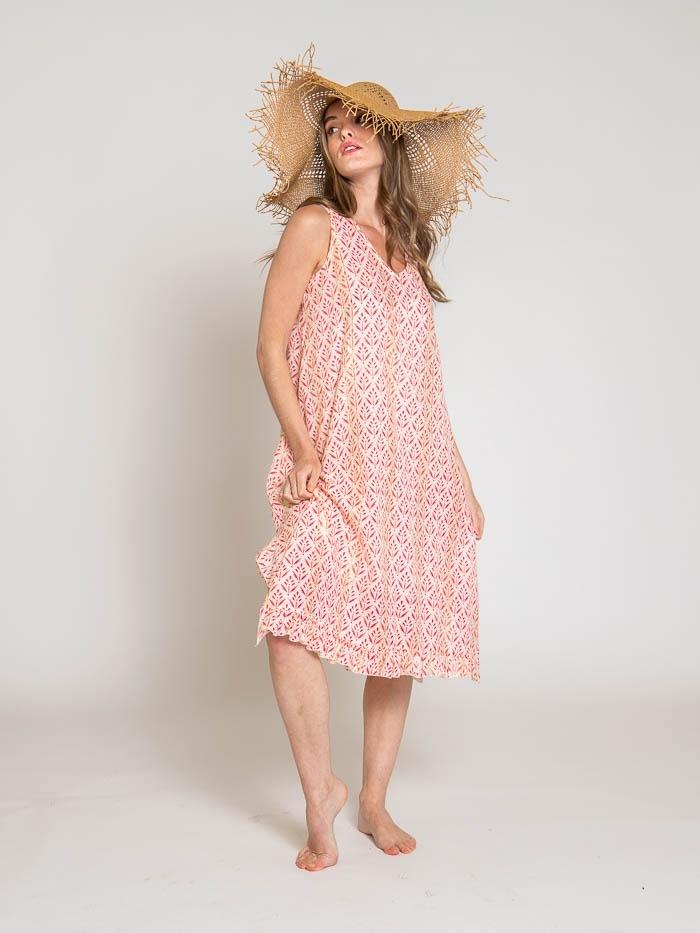 Herringbone print strap dress Coral