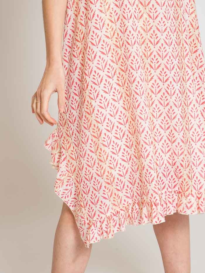 Woman Herringbone print strap dress Coral
