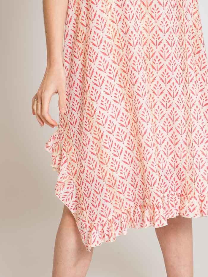 Woman Woman Herringbone print strap dress Coral