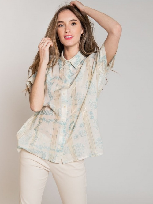 Glitter patchwork print shirt Aqua