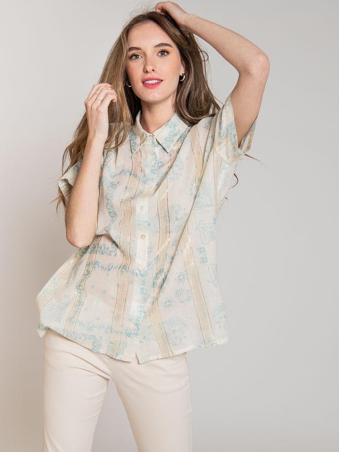 Camisa estampada patchwork brillo mujer Aqua