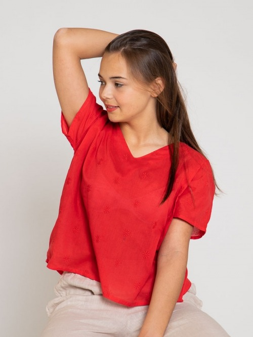 Blusa estampado floral y bordada mujer Rojo