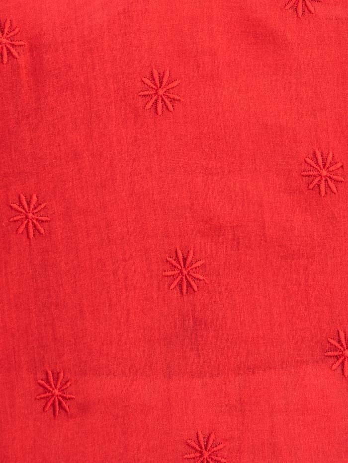 Blusa mujer estampado floral y bordada Rojo