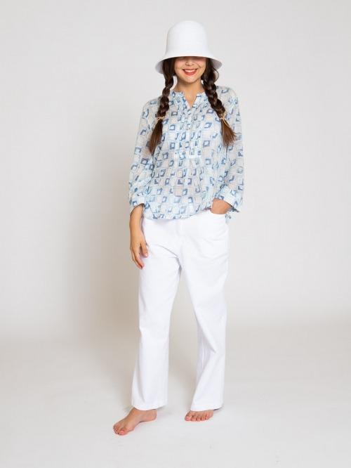 Cotton pleated blouse Blue
