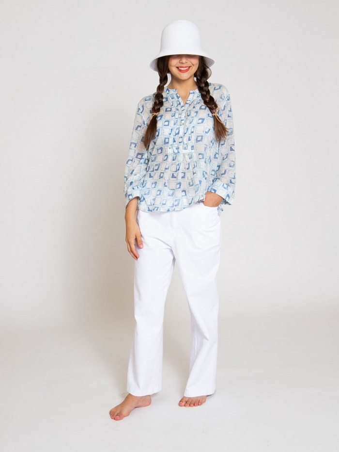 Blusa plisada algodón mujer Azul
