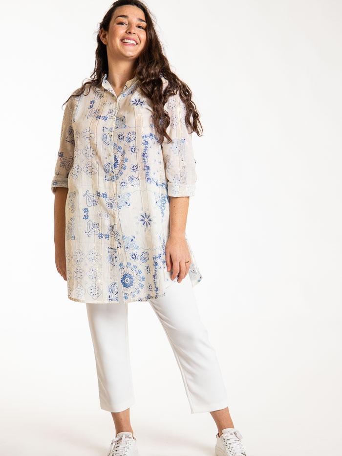 Patchwork print shirt dress Blue