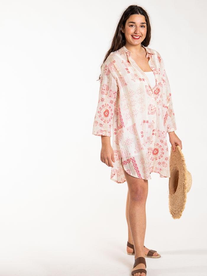 Patchwork print shirt dress Coral