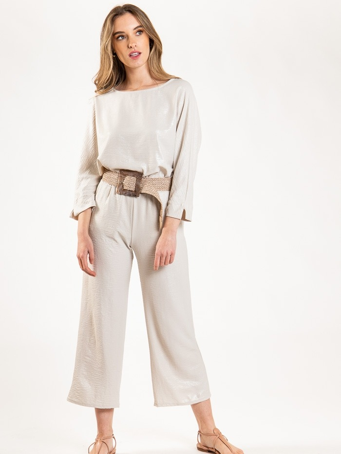 Flowy wide leg trousers with gloss detail Beige