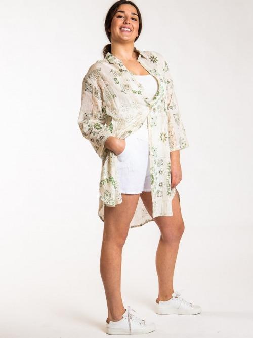 Vestido camisero estampado patchwork mujer Caqui