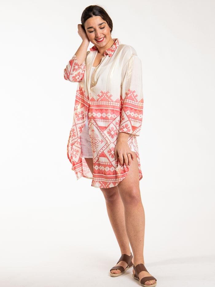Vestido camisero estampado brillo mujer Coral