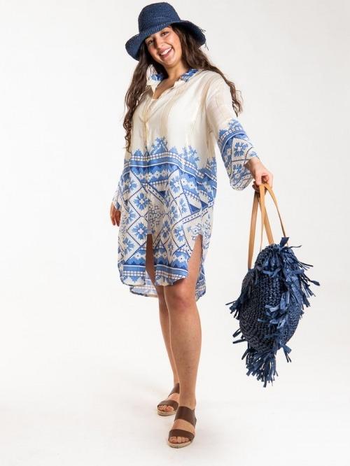 Vestido camisero estampado brillo mujer Azul