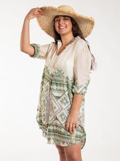 Vestido camisero estampado brillo mujer Caqui