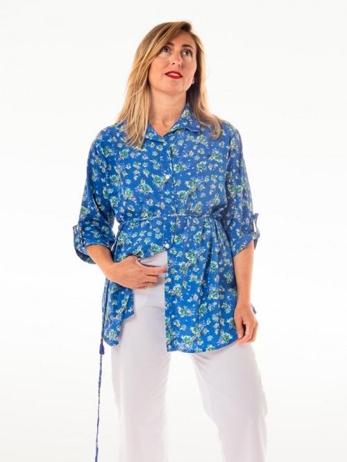Camisa fluida estampada botones mujer Azules