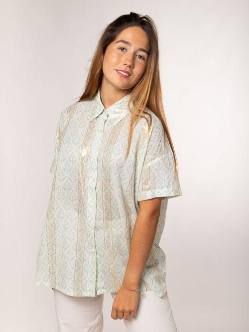 Camisa estampada espiga mujer Aqua