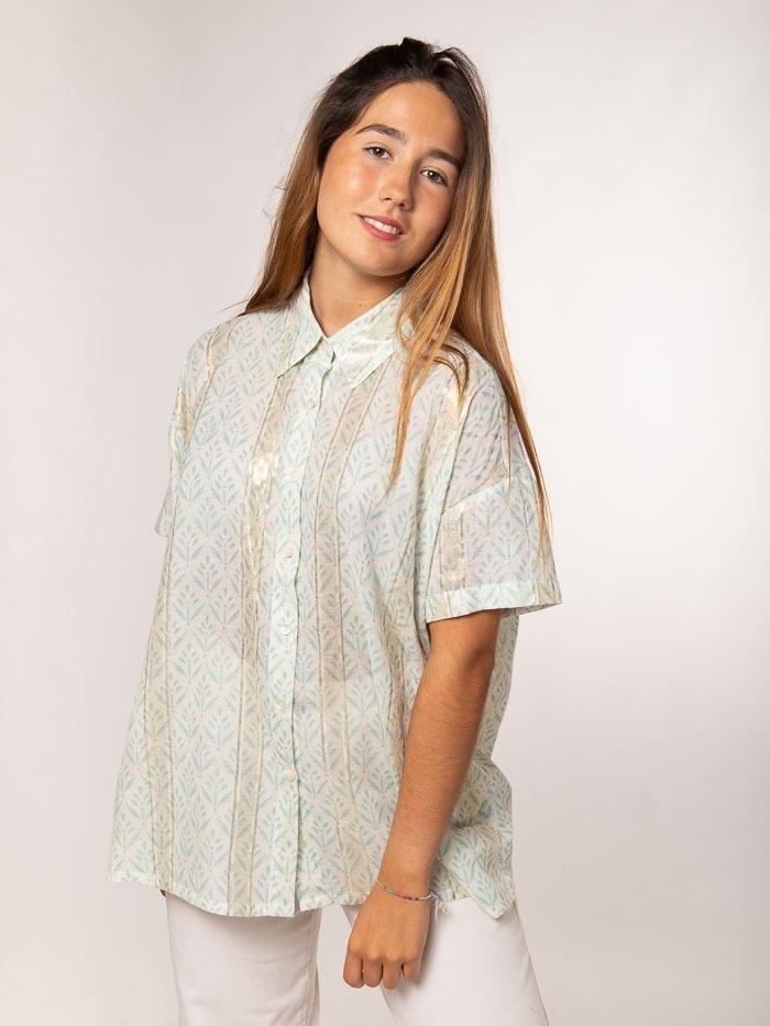 Herringbone print shirt Aqua