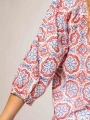 Printed cotton blouse with details Coral