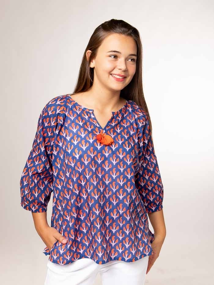 Printed cotton blouse with details Blue Navy