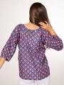 Blusa algodón estampada detalle mujer Azul Marino