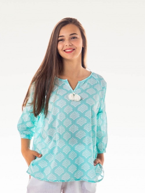 Printed cotton blouse with details Aqua