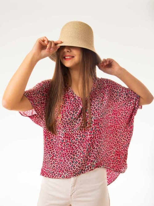 Flowy printed blouse Red