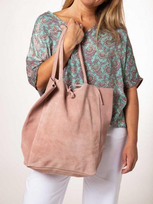 Suede Shopper Bag Pink claro