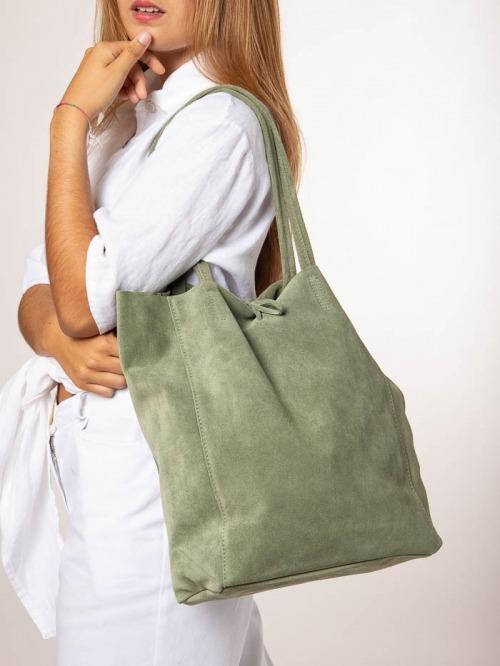 Suede Shopper Bag Green