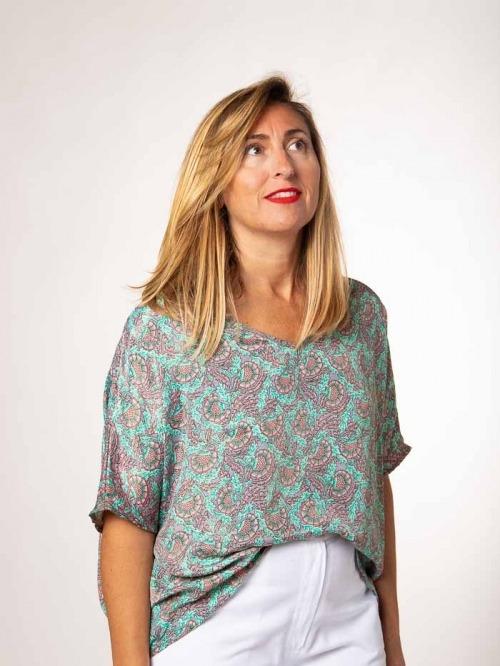 Flowy printed blouse AQUAS