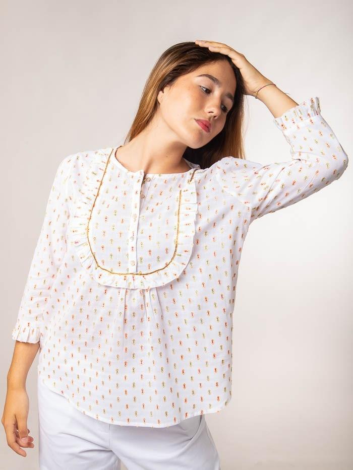Camisa plumeti lurex Blanco