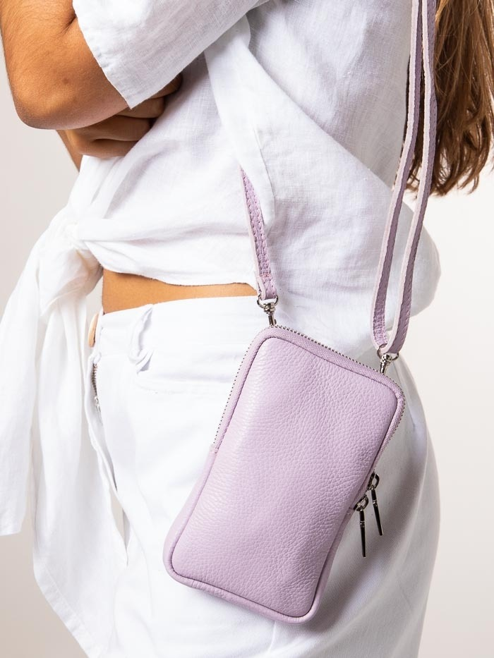 Leather mobile bag Lila