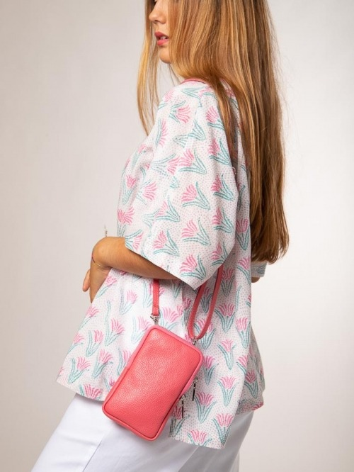 Leather mobile bag Coral